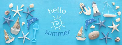Nautical, vacation and travel banner with sea life style objects. Top view. Nautical, vacation and travel banner with sea life style objects. Top view Stock Image