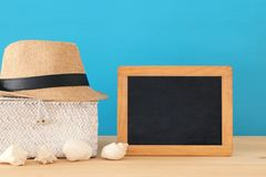 Nautical, vacation and travel image with sea life style objects over wooden table. Nautical, vacation and travel image with sea life style objects over wooden Stock Image