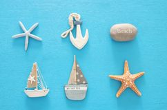 Nautical, vacation and travel image with sea life style objects. Top view. Nautical, vacation and travel image with sea life style objects. Top view Stock Photo