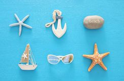 Nautical, vacation and travel image with sea life style objects. Top view. Nautical, vacation and travel image with sea life style objects. Top view Stock Image