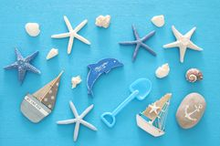 Nautical, vacation and travel image with sea life style objects. Top view. Nautical, vacation and travel image with sea life style objects. Top view Royalty Free Stock Image