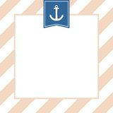 Nautical vector card or invitation with anchor Royalty Free Stock Photo