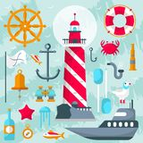 Nautical vector design elements with sailor and boats, helms and lighthouses for sailors day.Lifebuoy, anchor, gull vector illustration