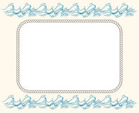 Nautical vector frame with ropes and blue waves Royalty Free Stock Image