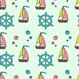 Nautical vector pattern with ships. Bright cartoon illustration for children`s greeting card design, fabric and wallpaper stock illustration