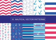 10 NAUTICAL VECTOR PATTERNS. Vector Illustration, EPS 10 Stock Images