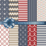 Nautical vector seamless patterns set Stock Photo