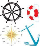 Nautical vector simbols. Vector illustration for compass, helm, belt and anchor isolated on white background Stock Photo