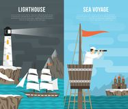 Nautical Vertical Banners Set Royalty Free Stock Photography