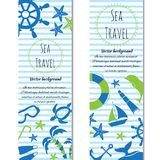 Nautical vertical banners set of sea. Vector illustration. Set of banners sea summer travel. Doodle vector illustration Royalty Free Stock Photography