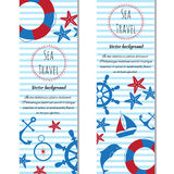 Nautical vertical banners set of sea. Vector illustration. Set of banners sea summer travel. Doodle vector illustration Stock Photos