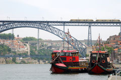 Nautical vessels on the river Douro(Portugal) Royalty Free Stock Image