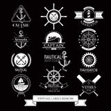 Nautical vessels vintage labels, icons and design elements. Set of Nautical vessels vintage labels, icons and design elements Royalty Free Stock Photography