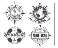 Nautical vintage emblems stock illustration