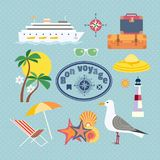 Nautical vintage icons. Ocean cruise travel icon set. Have nice trip - Bon Voyage in French. Fancy colorful cartoon seaside symbols. Vintage marine tour Stock Photo