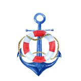 Nautical vintage watercolor illustration with an anchor and lifebuoy Stock Photo