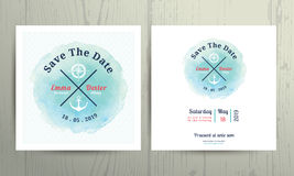 Nautical water colour wedding invitation card template set. On wood background Stock Photography