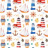 Nautical watercolor seamless patternПечать. Nautical watercolor seamless pattern.Multicolored background with cute sailor bear,anchor,lighthouses,coral Stock Images