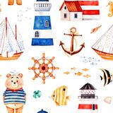 Multicolored background with cute sailor bear,anchor,lighthouses,coral fishes,sailboat. Nautical watercolor seamless pattern.Multicolored background with cute Royalty Free Stock Photo
