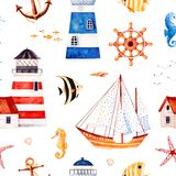 Multicolored background with starfish,anchor,lighthouses,coral fishes. Nautical watercolor seamless pattern.Multicolored background with starfish,anchor Royalty Free Stock Images