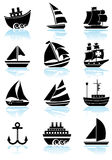 Nautical web buttons - black and white. Set of 12 Nautical web buttons - black and white Stock Illustration