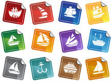 Nautical web buttons - stickers Stock Image