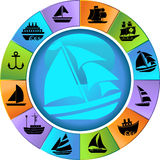Nautical web buttons - wheel. Set of 12 Nautical icons - wheel style Stock Photography