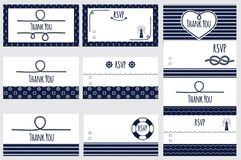 Nautical wedding card templates. Marine design of card Thank you and RSVP Stock Photography