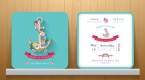 Nautical wedding invitation card with floral and anchor Royalty Free Stock Image