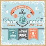 Nautical wedding invitation 2. Nautical wedding invitation with designed nautical elements. Sailor theme Stock Images