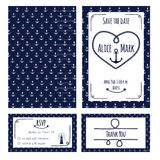 Nautical wedding invitation Stock Photos