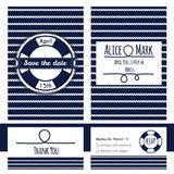 Nautical wedding invitation and RSVP card template Royalty Free Stock Photography