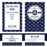 Nautical wedding invitation and RSVP card template Stock Photos