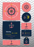 Nautical wedding invitation and RSVP card template set on pink wood background. Nautical wedding invitation and RSVP card in anchor rope design template set on Stock Images