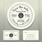 Nautical wedding invitation and RSVP round card template set Stock Photography