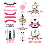 Nautical wedding theme with floral and anchor ornaments Stock Photos