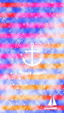 Nautical White Anchor Wreath Boat Yacht Stripes Colorful Watercolor Texture Background Wallpaper Stock Images