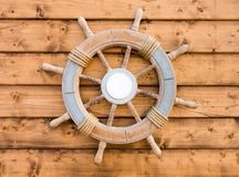 Nautical Wooden Boat Ship Steering Wheel royalty free stock images