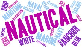 Nautical Word Cloud. On a white background Royalty Free Stock Photo