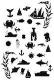 Nauticasilhouetten Royalty-vrije Stock Afbeelding