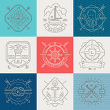 Nautico, avventure e segni ed etichetta degli emblemi di viaggio Fotografia Stock Libera da Diritti