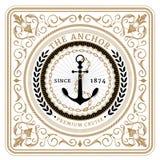Nautico la retro carta dell'ancora Royalty Illustrazione gratis