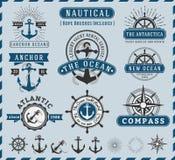 Nautico, NaSeafaring ed annata marina del logotype delle insegne illustrazione vettoriale