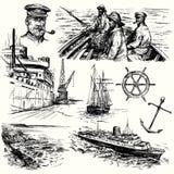 Nautikal beståndsdelar stock illustrationer