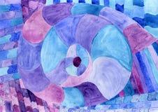 Nautilus Picasso de la acuarela en azul Acuarela del tema del mar Mar P Foto de archivo