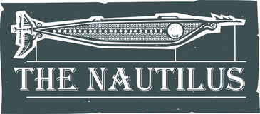 Nautilus Steampunk Submarine. Woodcut style Nautilus Steampunk Submarine design with text Stock Image