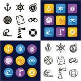 Nautique tous dans les icônes une noires et la conception plate de couleur blanche à main levée réglée Photographie stock libre de droits