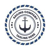 Nautisch, Seemannlogo-Designschablone Lizenzfreies Stockbild