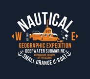 NautischDesigns der T-Shirt Typografiedruckweinlese-Schablone illustrati des gelben Unterwasserthemasiebdruckschablone kühlen kla Stockbilder