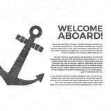 Nautisk banerdesign Mall för sjömanvektoraffisch Ankra etiketten och skriv ut designen med sjömansymbolet, typografi royaltyfri illustrationer